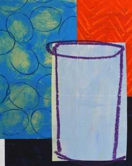 NoB25  Blue urn with circles and zigzags, unframed with mount_Thumbnail