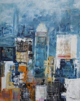 The City Never Sleeps acrylic and mixed media on linen 50cm x 40cm