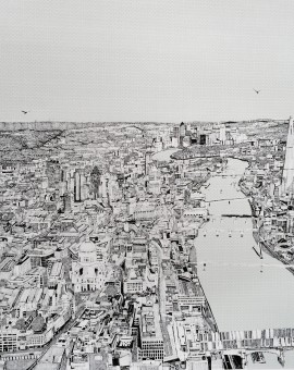London view in a limited edition print by Clare Halifax