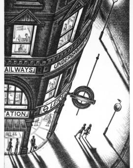 Last Tube Home etching 56 x 38 cm (15 x 10 inch)