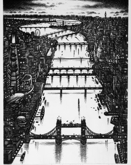 Thames Bridges Etching 2014 61 x 46 cm (24 x 18 inch)