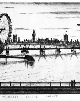Waterloo Bridge Sunset etching 24 x 42 cm (9.5 x 16    inch)