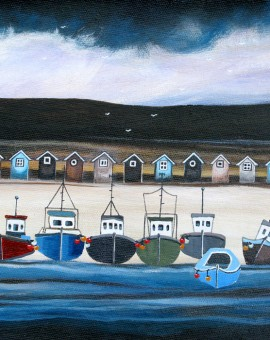 Anya Simmons-Beach Hut Bay-Open Print-Wychwood Art