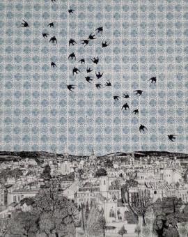 Clare Halifax Swallows Flocking to Oxford Wychwood art