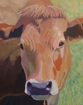 Margaret Crutchley Brown Cow  Wychwood Art  Affordable Art