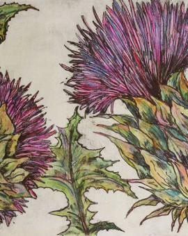 Vicky Oldfield, Cardoon, Wychwood Art, Original Print, Royal Academy Summer Exhibition Artist