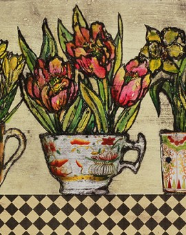 Vicky Oldfield, Spring bulbs, Wychwood Art, Original Print, Royal Academy Summer Exhibition Artist