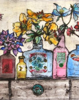 Vicky-Oldfield-Dandelion-and-Burdock-1-Hand-coloured-Collograph