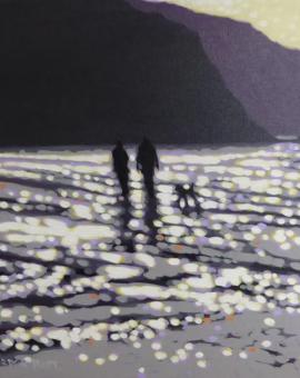 Winter Beach Walk_Gordon Hunt_Wychwoodart_Original Aert