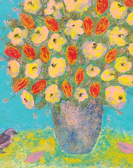 In Song Amy Christie floral flowers bird painting print canvas wall art texture glaze