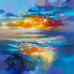 60 x 60cm liquid Cyan - Scott Naismith - Wychwood Art