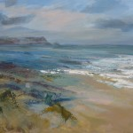 Joanna Commings|Polzeath|Cornish Beach Seascape acrylics evening light tide