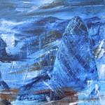 London Blue Gherkin 35cm x 30cm acrylic on canvas