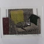 Michael Atkin, An Afternoon Nap, Cat Art, Prints of Cats, Contemporary Etching Prints, Michael Atkin
