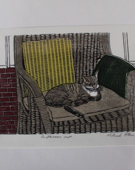 Michael Atkin, An Afternoon Nap, Cat Art, Prints of Cats, Contemporary Etching Prints, Michael Atkin