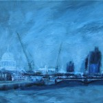 Twilight over St Pauls Cathedral 30cm x 35cm acrylic on linen
