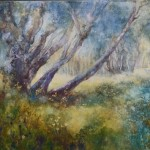 angela perrin buttercup meadow 45 x 55cms watercolour  on canvas £450