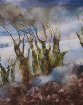 winter trees at Charleston watercolour on canvas 50 x 66 cms £400