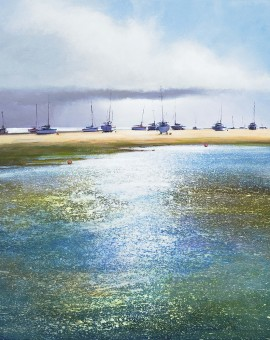 Boats at the Point, Blakeney limited edition print by Michael Sanders