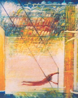 Trapeze. acrylic on canvas.12ins.x16ins.£450.Gerard Tunney