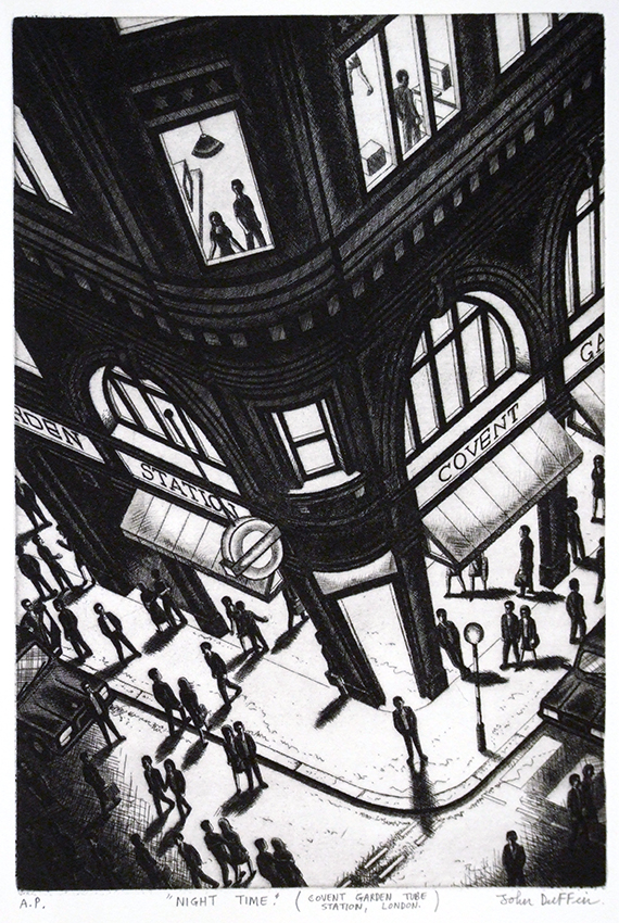 Night Time (Covent Garden Tube Station, London) etching 56   x 38 cm (15 x 10 inch)