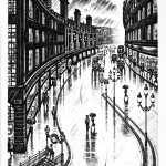 Regent Street Rain Etching 38 x 25 cm (15 x 10 inch)
