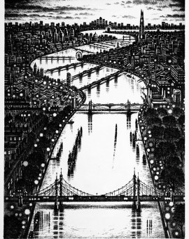 Thames Bridges East Etching 2015 61 x 46 cm (24 x 18    inch)