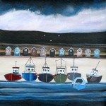 Anya Simmons-Beach Hut Bay-Open Print-Wychwood Art