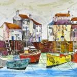 Anya Simmons-Blue Peter at Polperro-Open Print-Wychwood Art