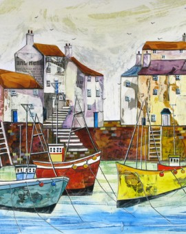 Anya Simmons-Blue Peter at Polperro-Open Print-Wychwood Art