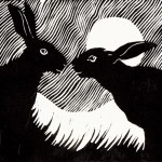 'Winter Hares' linocut by Rosemary Farrer