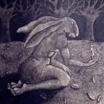Sophie Ryder Lady Hare on an oak Leaf Wychwood art