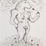 Sophie Ryder Minotaur Sniffing a Daisy Wychwood art