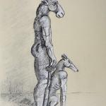 Sophie Ryder Standing Minotaur with Dog Wychwood art