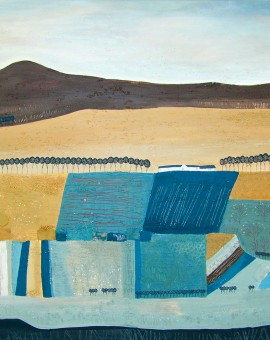 Jessica Leighton Blue and Yellow Striped Fields Wychwood Art
