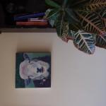 Sheep with bindweed on wall 1