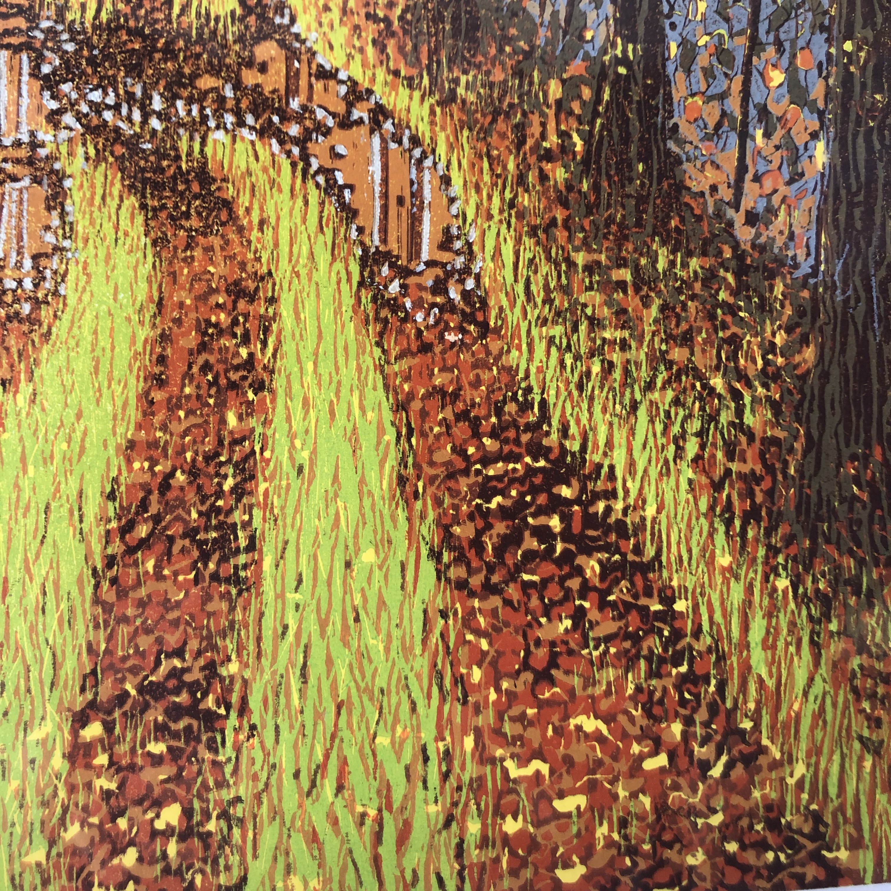 Autumn Lane by Printmaker, Mark A Pearce is an original hand printed Reduction Linocut made from just one block, which is reduced with each colour that he adds.