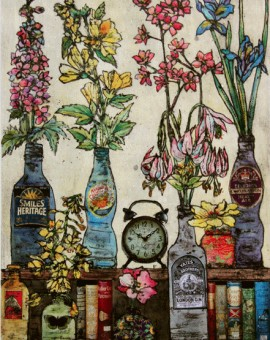 Vicky Oldfield Bottles, Books and Flowers Printmaker