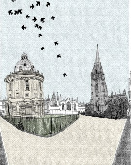 Clare Halifax Nesting in Radciffe Square screen prints Oxford
