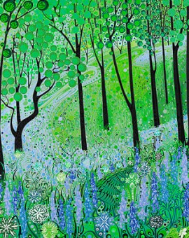 Katie Allen Bluebell Woodland Affordable Art