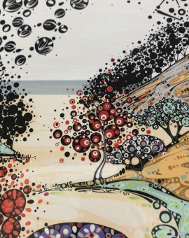 Katie's artwork is based on the natural world, their changing seasons and shades, which she transforms into a rich textile of patterns, forms and colours.