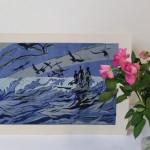 Lisa Takahashi, The Surfers, Limited Edition Linocut Print 8