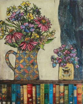 Vicky Oldfield, Books and flowers, Wychwood Art, Original Print, Royal Academy Summer Exhibition Artist