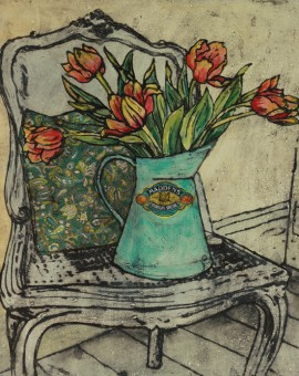Vicky Oldfield, Jug of tulips, Wychwood Art, Original Print, Royal Academy Summer Exhibition Artist
