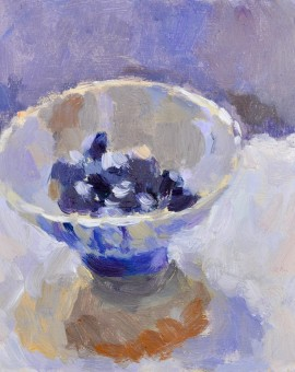 Lynne Cartlidge Blueberries in a Chinese Bowl Still Life