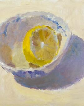 Lynne Cartlidge Lemon Half in Chinese Bowl Still life