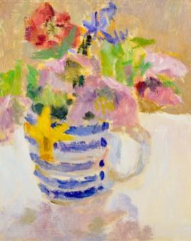 Lynne Cartlidge Spring Flowers Striped Jug Still Life