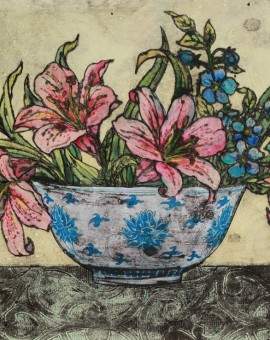 Vicky Oldfield, Bowl of lilies 11,  Wychwood Art, Original Print,  Royal Academy Summer Exhibition Artist