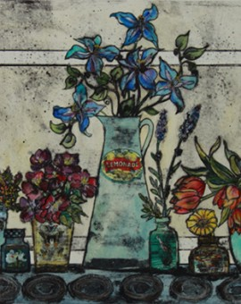 Vicky Oldfield, Garden Flowers, Wychwood Art, Original Print,  Royal Academy Summer Exhibition Artist