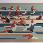 Eliza Southwood, Swimmers, Limited Edition Linocut Print, Art Deco, Sports Art 2